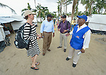 John Nduna (second from left), the general secretary of the ACT Alliance, talks with relief workers on Jimanoc Island, part of the municipality of Basey in the Philippines province of Samar that was hit hard by Typhoon Haiyan in November 2013. The storm was known locally as Yolanda. The others are Anja Riiser (left), team leader for Norwegian Church Aid; Sudhanshu Singh, regional coordinator for the ACT Alliance; and KG Mathaikutty, an emergency response official for the Lutheran World Federation. The ACT Alliance has been providing a variety of forms of assistance to survivors here, and Nduna and other ACT Alliance leaders spent several days in this and other affected communities learning first hand about the network's emergency response and long-term plans for recovery and rehabilitation.