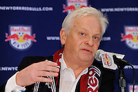 New York Red Bulls head coach Hans Backe addresses the media during a press cenference at Red Bull Arena in Harrison, NJ, on January 13, 2010.