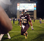 Mississippi State tight end Marcus Green (32) celebrates a 31-3 win over Mississippi in Starkville, Miss. on Saturday, November 26, 2011. (AP Photo/Oxford Eagle, Bruce Newman)