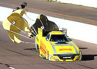 Feb 25, 2017; Chandler, AZ, USA; NHRA funny car driver Matt Hagan during qualifying for the Arizona Nationals at Wild Horse Pass Motorsports Park. Mandatory Credit: Mark J. Rebilas-USA TODAY Sports