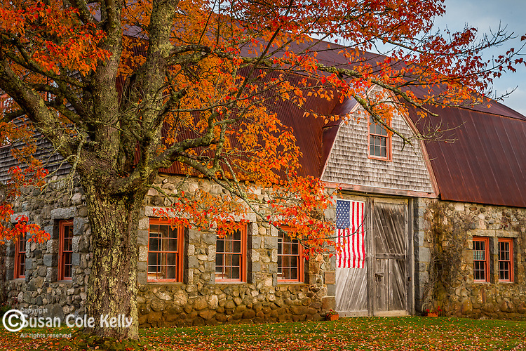 Autumn color at the stone barn in Bar Harbor, Maine, USA