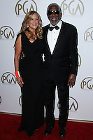 BEVERLY HILLS, CA - JANUARY 19: Lori McCreary, Morgan Freeman at the 25th Annual Producers Guild Awards held at The Beverly Hilton Hotel on January 19, 2014 in Beverly Hills, California. (Photo by Xavier Collin/Celebrity Monitor)