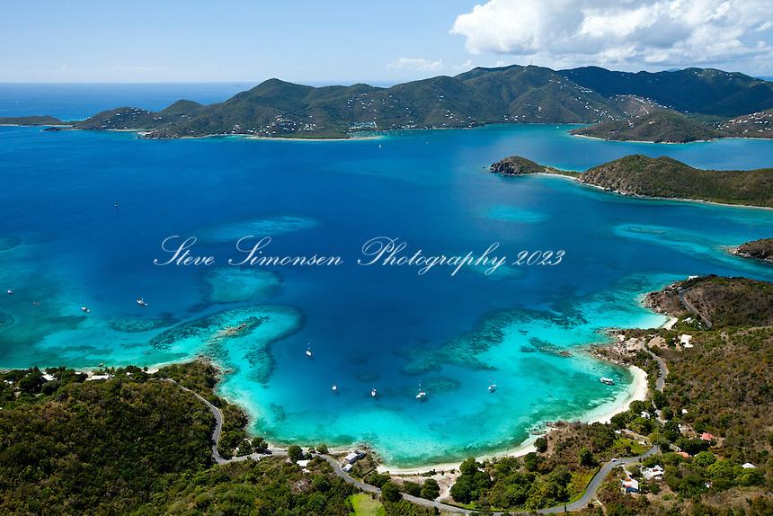 St. John east end looking west showing Round Bay, Hansen Bay, Pelican Rocks, Turner Point.St. John.U.S. Virgin Islands