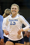10 September 2015: North Carolina's Jordyn Schnabl. The University of North Carolina Tar Heels hosted the Stanford University Cardinal at Carmichael Arena in Chapel Hill, NC in a 2015 NCAA Division I Women's Volleyball contest. North Carolina won the match 25-17, 27-25, 25-22.