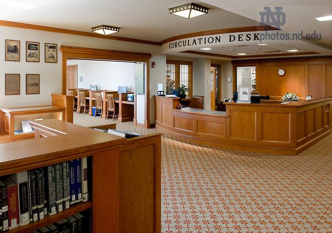 May 6, 2011; Biolchini Hall of Law, library circulation desk...Photo by Matt Cashore/University of Notre Dame