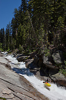 """Kayaker on Silver Creek 5"" - This kayaker was photographed on Silver Creek - South Fork, near Icehouse Reservoir, CA."