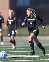 Wilmington University defender Alli Williams (17) at midfield. . In 2012 NCAA Division II Women's Soccer Championship Tournament First Round, College of St Rose (white) defeated Wilmington University (black), 3-0, on Ronald J. Abdow Field at American International College on November 9, 2012.
