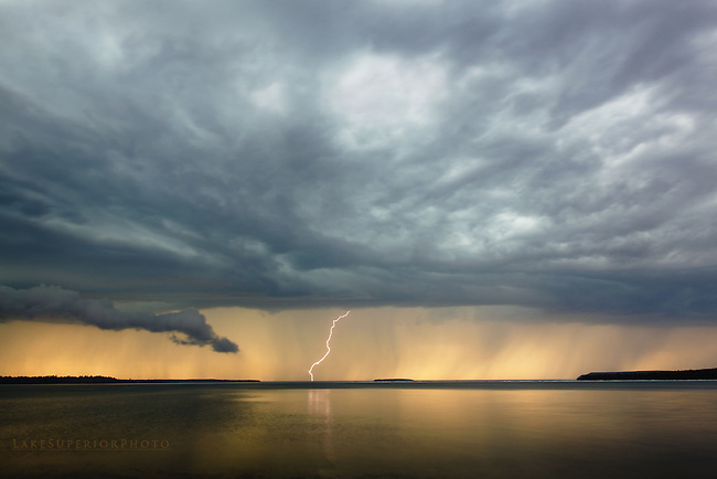 storm front at sunset, Autrain, MI Lake Superior