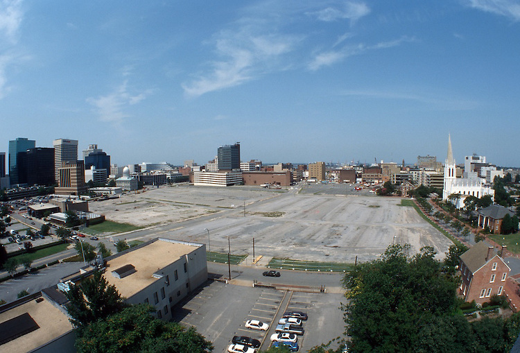 1996 July 31..Redevelopment..Macarthur Center.Downtown North (R-8)..MACARTHUR PROGRESS.SUPERWIDE LOOKING WEST FROM ROTUNDA BUILDING...NEG#.NRHA#..