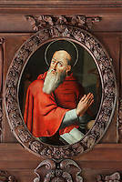 Painting of an unknown cardinal, by Jean Helart, 1618-85, French painter, in a carved wooden garland frame set in the wooden panelling of the refectory of the Ancien College des Jesuites or Former Jesuit College in Reims, Marne, Champagne-Ardenne, France. The College was built 1619-78 and is now the Euro-American campus of Sciences Po, or the Institut d'Etudes politiques de Paris, and the FRAC Champagne-Ardenne. It is listed as a historic monument. Picture by Manuel Cohen