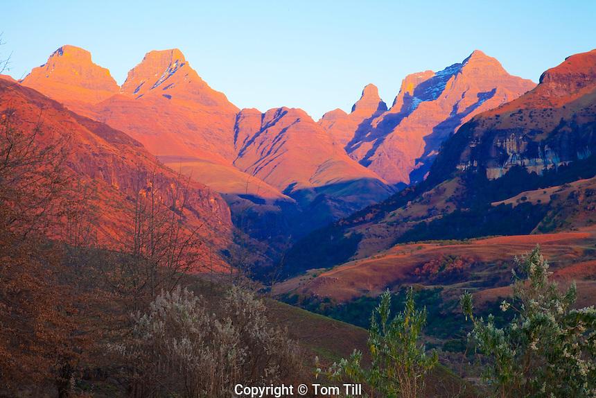 Cathedral Peak.Drakensberg Mountains, South Africa.Natal Drakensberg Park.KwaZulu-Natal Region.Highest peaks in South Africa