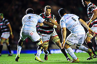Ed Slater of Leicester Tigers takes on the Racing 92 defence. European Rugby Champions Cup match, between Leicester Tigers and Racing 92 on October 23, 2016 at Welford Road in Leicester, England. Photo by: Patrick Khachfe / JMP