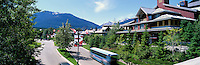 Village Gate Boulevard, Whistler Ski Resort, BC, British Columbia, Canada, Summer - Blackcomb Mountain in distance, Panoramic View