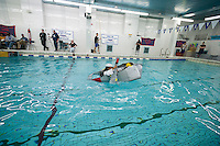 "Alex Penaranda, a senior, pilots his team's boat in Brooklyn Technical High School's Cardboard Boat Regatta in the school's pool in Brooklyn in New York on Friday, March 1, 2013. As part of Engineering Week the teams of students constructed boats made only of cardboard and duct tape. The team's assigned ""captain"" piloted their boat from one end of the pool to the other and back in a heat with other boats, hopefully without sinking. The surviving boats were timed and the winners received bragging rights with an award also going to the most spectacular sinking. (© Richard B. Levine)"