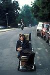 Professor Stephen Hawking Cambridege University using his wheel chair to get to college. Cambridge UK 1981. 1980'S.