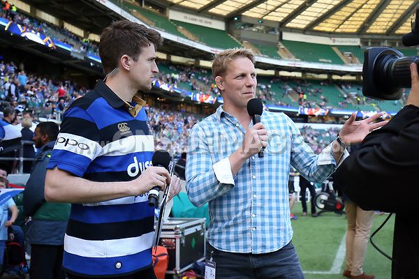 Greg James and Lewis Moody warm up the crowd. The Clash, Aviva Premiership match, between Bath Rugby and Leicester Tigers on April 8, 2017 at Twickenham Stadium in London, England. Photo by: Rogan Thomson / JMP for Onside Images