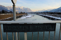 Sign at the border crossing between Liechtenstein and Switzerland on a bridge over the River Rhine.