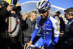 Riding his very last race 4 time winner Tom Booonen (BEL) Quick-Step Floors at sign on for the 115th edition of the Paris-Roubaix 2017 race running 257km Compiegne to Roubaix, France. 9th April 2017.<br /> Picture: Eoin Clarke | Cyclefile<br /> <br /> <br /> All photos usage must carry mandatory copyright credit (&copy; Cyclefile | Eoin Clarke)