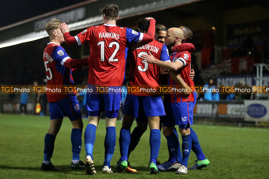 Jordan Maguire-Drew (left) of Dagenham is congratulated after scoring the opening goal during Dagenham & Redbridge vs Braintree Town, Vanarama National League Football at the Chigwell Construction Stadium on 2nd January 2017