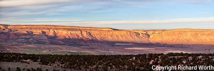A series of images have been combined to give a panoramic view of the Paradox Valley as seen from the western end of the Highway 90 access to the valley.