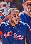 4 March 2016: Houston Astros infielder Luis Valbuena is refreshed with water in the dugout after hitting a solo home run during a Spring Training pre-season game against the St. Louis Cardinals at Osceola County Stadium in Kissimmee, Florida. The Astros defeated the Cardinals 6-3 in Grapefruit League play. Mandatory Credit: Ed Wolfstein Photo *** RAW (NEF) Image File Available ***