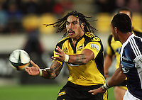 Hurricanes second five Ma'a Nonu passes during the Super 14 rugby union match between the Hurricanes and Blues at Westpac Stadium, Wellington, New Zealand on Friday 1 May 2009. Photo: Dave Lintott / lintottphoto.co.nz