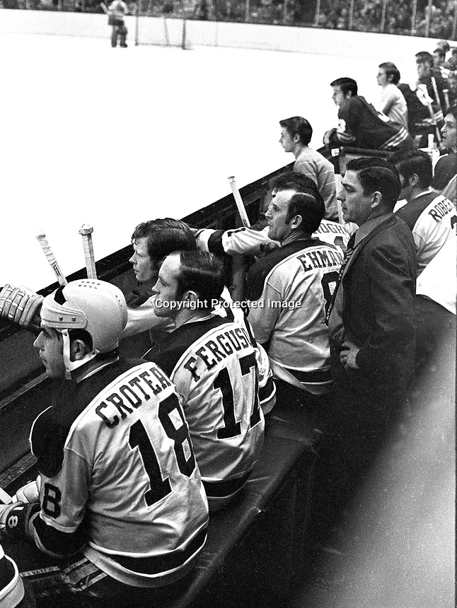 Seal bench, coach Fred Glover and players l-r are Gary Croteau, Norm Ferguson, Dennis Hextall, Gerry Ehman, Don O'Donoghue and Doug Roberts..(1971 photo/Ron Riesterer)