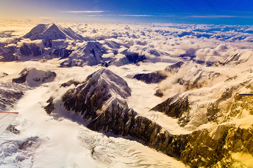 Aerial views looking down the Kahiltna Glacier (Mt. Foraker in foreground), near Mt. McKinley, the Alaska Range, Denali National Park, Alaska