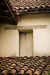 Mission San Juan Bautista, white washed door, terra cotta tile roof