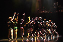 "London, UK. 10.05.2016. Rambert presents the revival of ""A Linha Curva"", choreographed, designed and lighting design by Itzik Galili.  Dancers are: Luke Ahmet, Miguel Altunaga, Lucy Balfour, Joshua Barwick, Carolyn Bolton, Simone Damb erg Wurtz, Daniel Davidson, Edit Domoszlai, Liam Francis, Julia Gillespie, Brenda Lee Grech, Antonia Hewitt, Jacob O'Connell, Adam Park, Stephen Quildan, Hannah Rudd, Kym Sojourna, Pierre Tappon, Stephen Wright. Photograph © Jane Hobson."