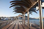 Santa Barbara Castle and City from the Harbopur Wall Pier Promenade Walk in Alicante, Spain