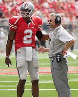 September 27, 2008: Ohio State quarterback Terrelle Pryor (2) and head coach Jim Tressel. The Ohio State Buckeyes defeated the Minnesota Gophers 34-21 on September 27, 2008 at Ohio Stadium, Columbus, Ohio.