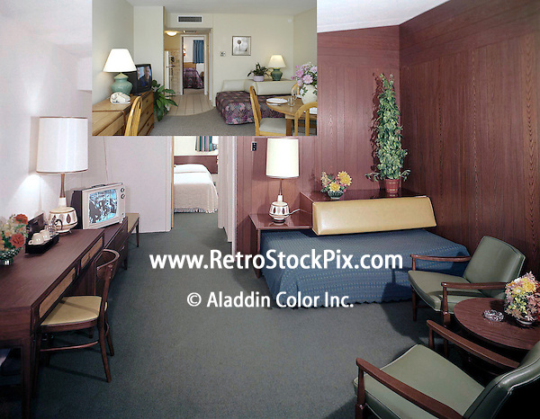 Attache Motel in Wildwood, New Jersey. Motel Room photograph from 1962 and also from 2007.