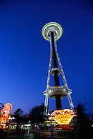 "Seattle, Washington, USA - ""Space Needle"" at Seattle Center, Revolving Restaurant on Top"