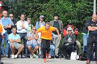 KAATSEN: FRANEKER: Sportcomplex 'De Trije', 01-09-2012, Wereldkampioenschap Kaatsen, Llargues, Finale Team Nederland - Team Colombia, Eindstand 10-1, concentratie bij Johan van der Meulen, ©foto Martin de Jong