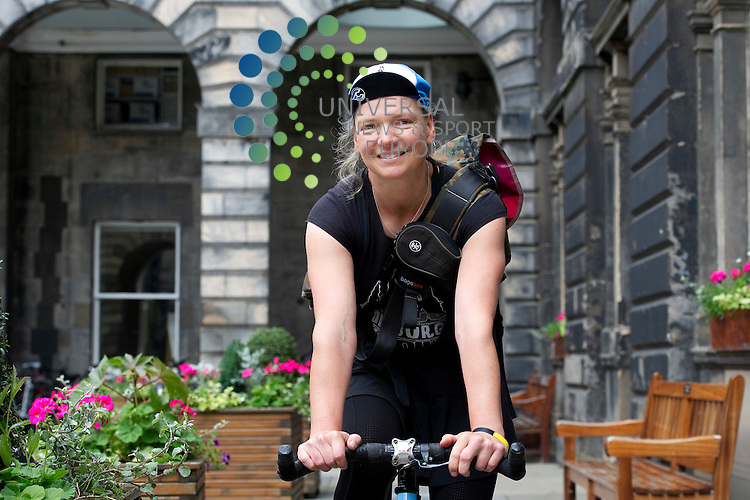 Scotland's capital is hosting the 17th European Cycle messenger Championship with over 100 couriers from across Europe and other countries to compete at a variety of venues on 15th to 17th June, Edinburgh, Scotland, 12th june, 2012 . Pictured Eva Ballin, corier and one of the main organisers of the event..Picture:Scott Taylor Universal News And Sport (Europe) .All pictures must be credited to www.universalnewsandsport.com. (Office)0844 884 51 22.