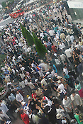 View of the crowds in Hachiko Square, outside Shibuya Train station, a popular meeting spot for youngsters at the weekends. Shibuya, Tokyo, Japan.