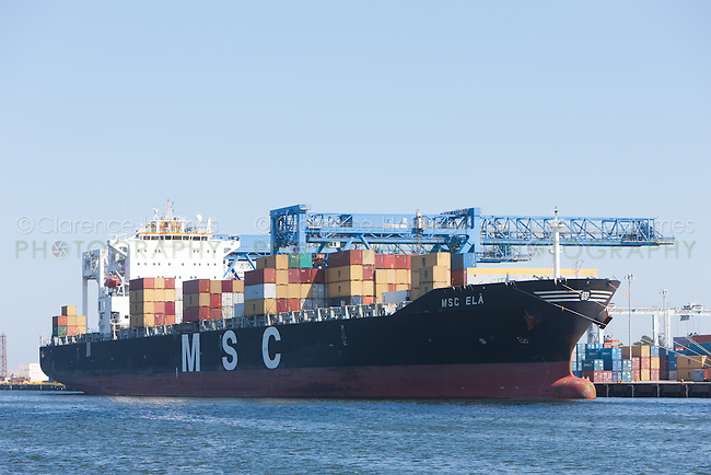 The MSC ELA container ship at the Paul Conley Terminal in Boston, Massachusetts