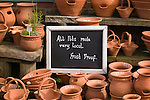 Pots for sale in the town of Helmsley in England.