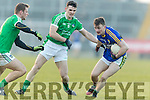 Tom O'Sullivan   Kerry in action against Darragh Treacy and Paul White Limerick in the Final of the McGrath Cup at the Gaelic Grounds on Sunday.