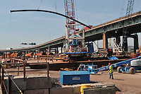 Materials, Equipment & Activies at Over Water Construction Site. Bridge Piers and Casions. Pearl Harbor Memorial Bridge Project B1 Contract 92-618
