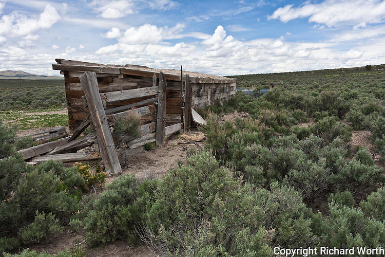 Back-view of a shed built with railroad ties at the deserted former railroad town, now ghost town, Cobre, Nevada.