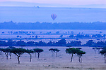 Balloon over savanna landscape, Masai Mara National Reserve, Kenya