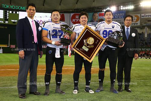 (L-R)<br /> Atsushi Tsuji,<br /> Akinobu Soma,<br /> Makoto Kajiwara (),<br /> DECEMBER 14, 2015 - American Football : <br /> The 29th Japan American Football Championship<br /> &quot;Japan X Bowl 29&quot; <br /> between Panasonic Impulse 24-21 Fujitsu Frontiers <br /> at Tokyo Dome, Tokyo, Japan. <br /> (Photo by Shingo Ito/AFLO SPORT)