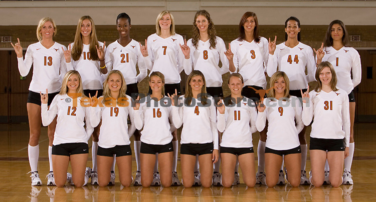 Volleyball groups and mugs.(The University of Texas/Jim Sigmon)