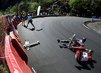 Downhill longboarding competition.The Extremesport Week, Ekstremsportveko, is the worlds largest gathering of adrenalin junkies. In the small town of Voss enthusiasts in a varitety of extreme sports come togheter every summer to compete and play. Norway..©Fredrik Naumann/Felix Features.