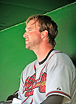 25 September 2010: Atlanta Braves pitcher Derek Lowe in the dugout during a game against the Washington Nationals at Nationals Park in Washington, DC. The Braves shut out the Nationals 5-0 to even their 3-game series at one win apiece. The Braves' victory was the 2500th career win for skipper Bobby Cox. Cox will retire at the end of the 2010 season, crowning a 29-year managerial career. Mandatory Credit: Ed Wolfstein Photo