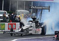 Apr 26, 2015; Baytown, TX, USA; NHRA top fuel driver Larry Dixon during the Spring Nationals at Royal Purple Raceway. Mandatory Credit: Mark J. Rebilas-