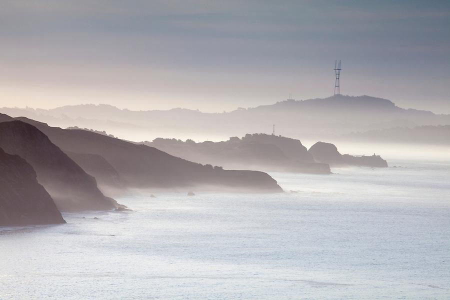 Marin Headlands in morning mist, San Francisco, CA, USA