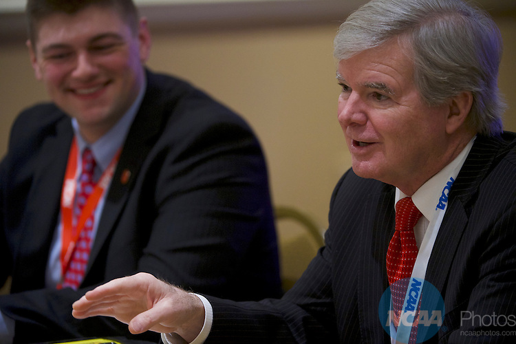 18 JAN 2017: The Division I Student Athlete Advisory Committee meeting takes place during the 2017 NCAA Convention at the Gaylord Opryland Resort and Convention Center in Nashville, TN.  Jamie Schwaberow/NCAA Photos (Pictured:  Dr. Mark Emmert)